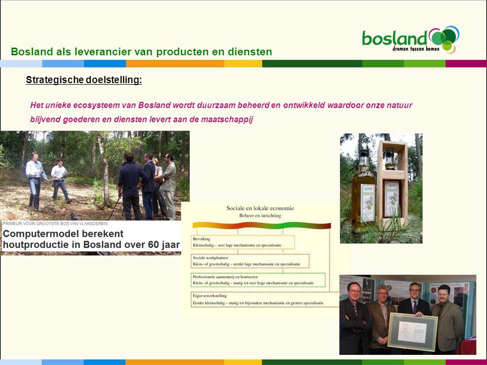 Bosland als leverancier van producten en diensten Het unieke ecosysteem van Bosland wordt duurzaam beheerd en ontwikkeld waardoor onze natuur blijvend goederen en diensten levert aan de maatschappij Strategische doelstelling: