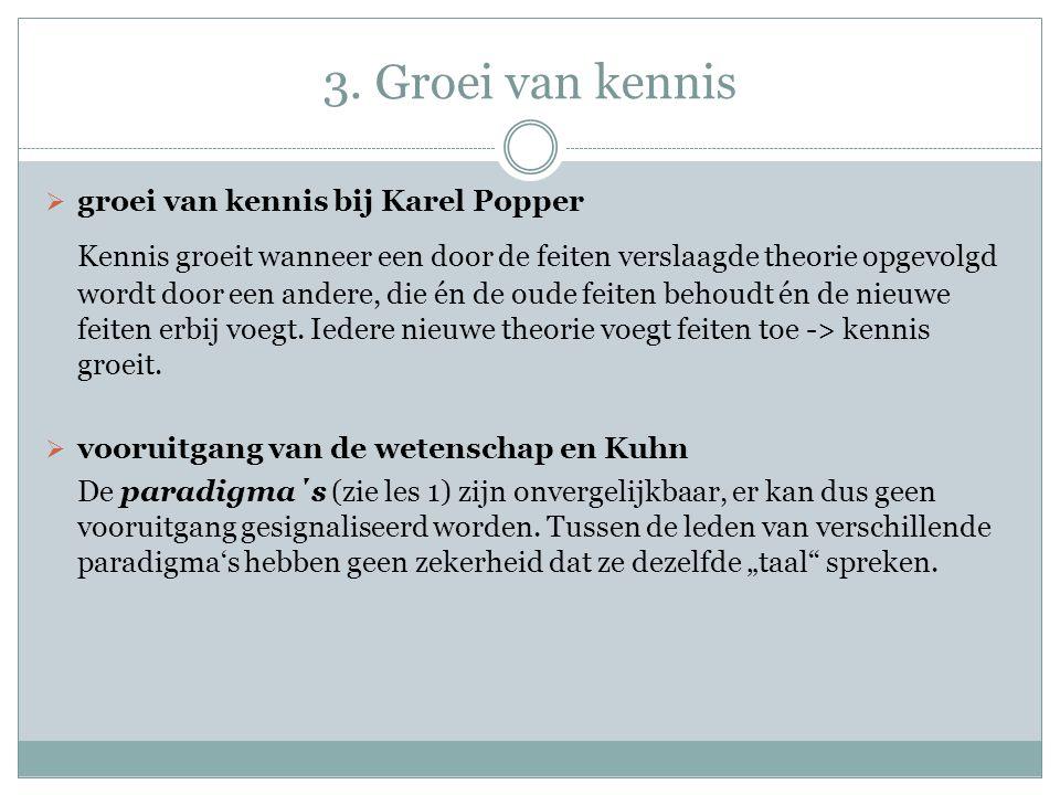 3. Groei van kennis  groei van kennis bij Karel Popper Kennis groeit wanneer een door de feiten verslaagde theorie opgevolgd wordt door een andere, d