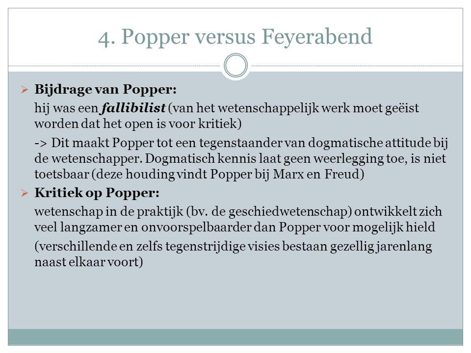 4. Popper versus Feyerabend  Bijdrage van Popper: hij was een fallibilist (van het wetenschappelijk werk moet geëist worden dat het open is voor krit