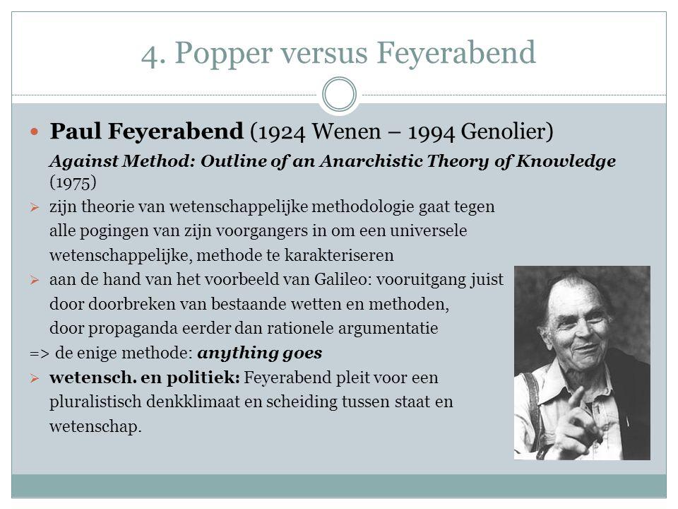 4. Popper versus Feyerabend Paul Feyerabend (1924 Wenen – 1994 Genolier) Against Method: Outline of an Anarchistic Theory of Knowledge (1975)  zijn t