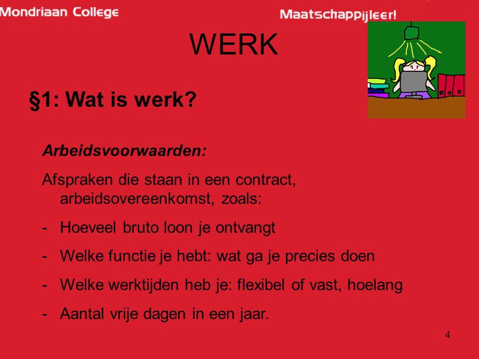 5 WERK §1: Wat is werk.Bruto loon: je loon met nog alles erbij.