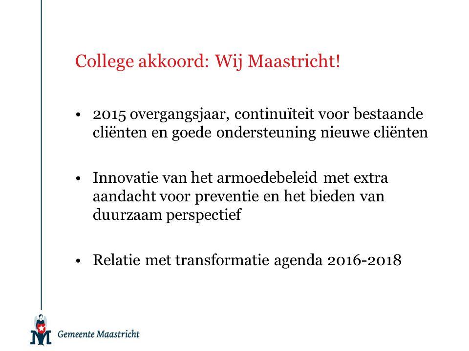 College akkoord: Wij Maastricht! 2015 overgangsjaar, continuïteit voor bestaande cliënten en goede ondersteuning nieuwe cliënten Innovatie van het arm