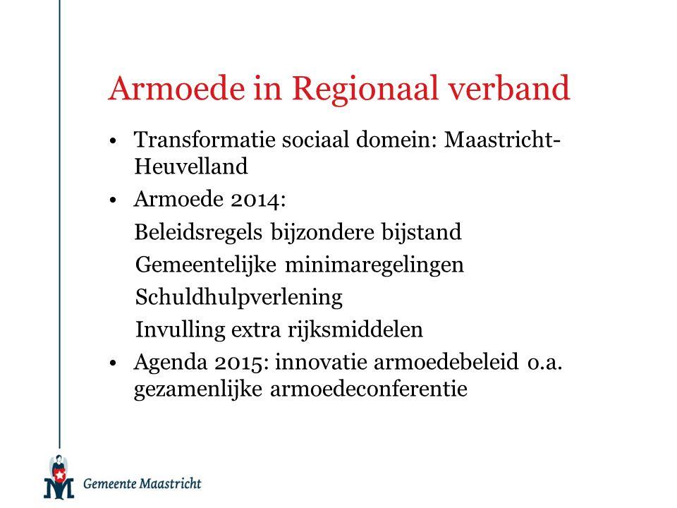 Armoede in Regionaal verband Transformatie sociaal domein: Maastricht- Heuvelland Armoede 2014: Beleidsregels bijzondere bijstand Gemeentelijke minima