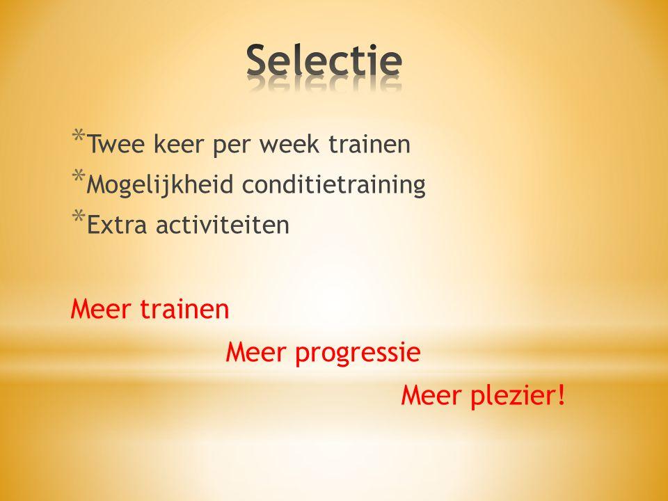 * Twee keer per week trainen * Mogelijkheid conditietraining * Extra activiteiten Meer trainen Meer progressie Meer plezier!
