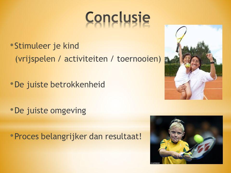 Stimuleer je kind (vrijspelen / activiteiten / toernooien) De juiste betrokkenheid De juiste omgeving Proces belangrijker dan resultaat!