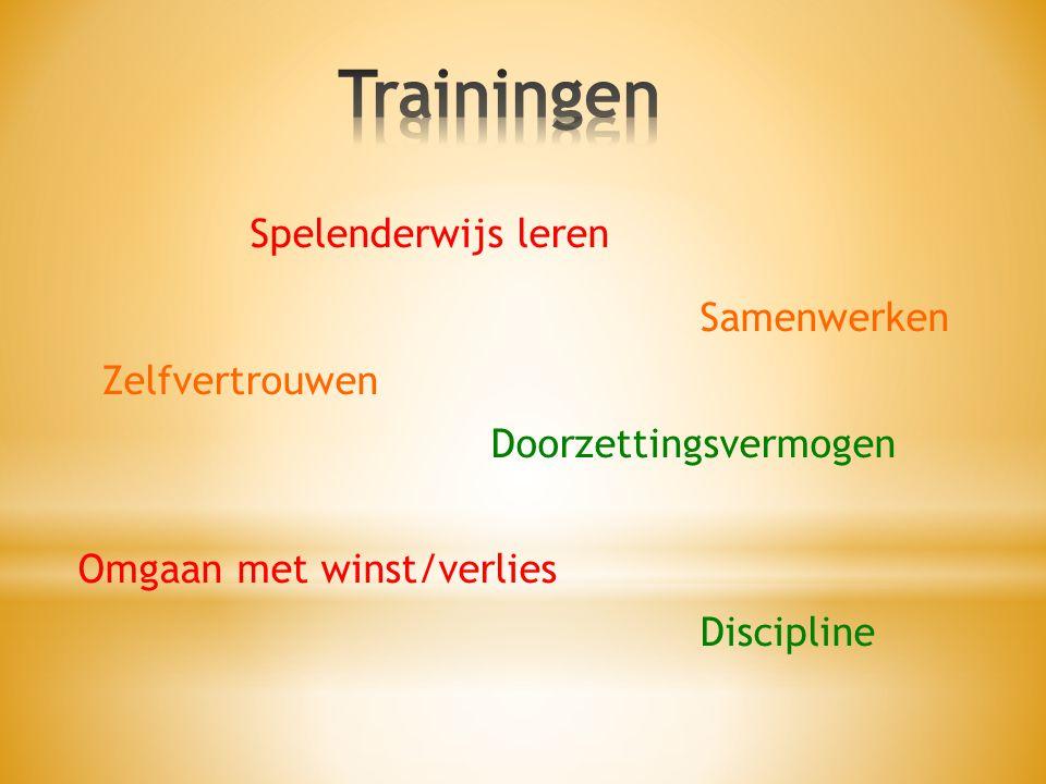 Spelenderwijs leren Samenwerken Zelfvertrouwen Doorzettingsvermogen Omgaan met winst/verlies Discipline