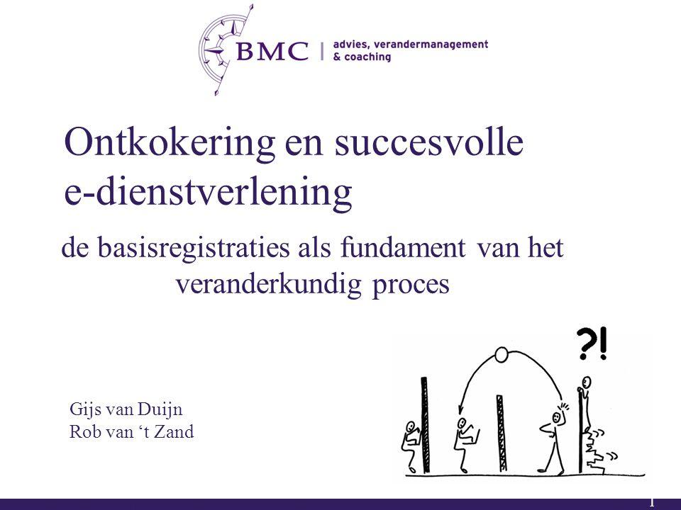 1 Ontkokering en succesvolle e-dienstverlening de basisregistraties als fundament van het veranderkundig proces Gijs van Duijn Rob van 't Zand