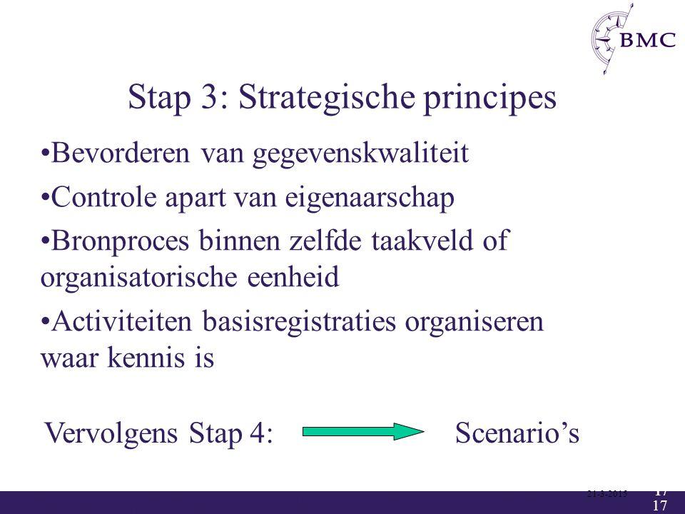 17 Stap 3: Strategische principes 21-3-2015 17 Vervolgens Stap 4: Scenario's Bevorderen van gegevenskwaliteit Controle apart van eigenaarschap Bronpro