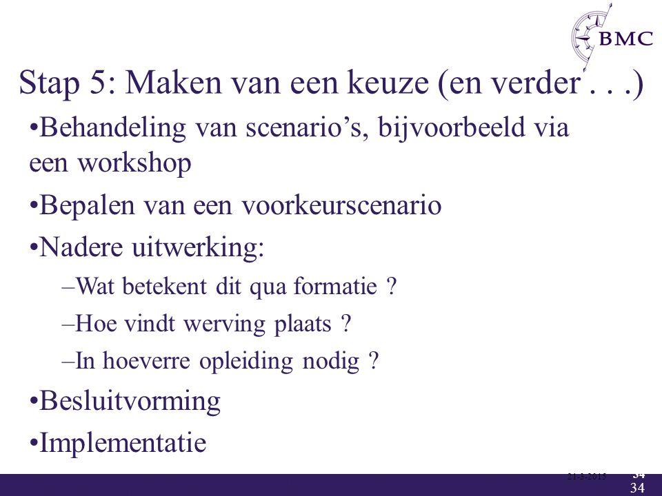 34 Stap 5: Maken van een keuze (en verder...) 21-3-2015 34 Behandeling van scenario's, bijvoorbeeld via een workshop Bepalen van een voorkeurscenario