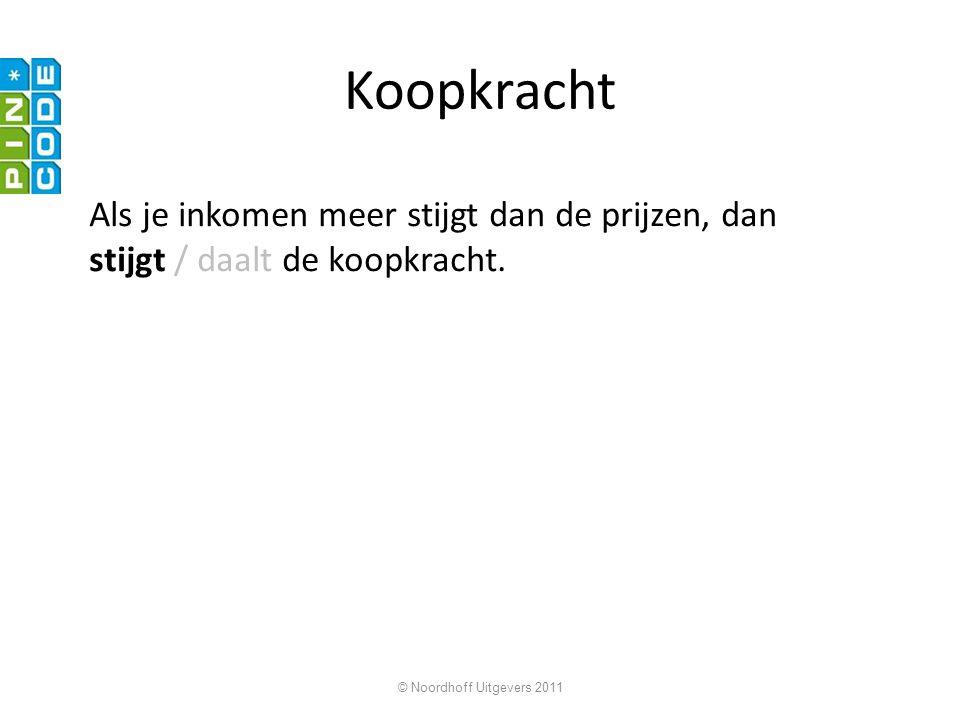 © Noordhoff Uitgevers 2011 Koopkracht Als je inkomen meer stijgt dan de prijzen, dan stijgt / daalt de koopkracht.