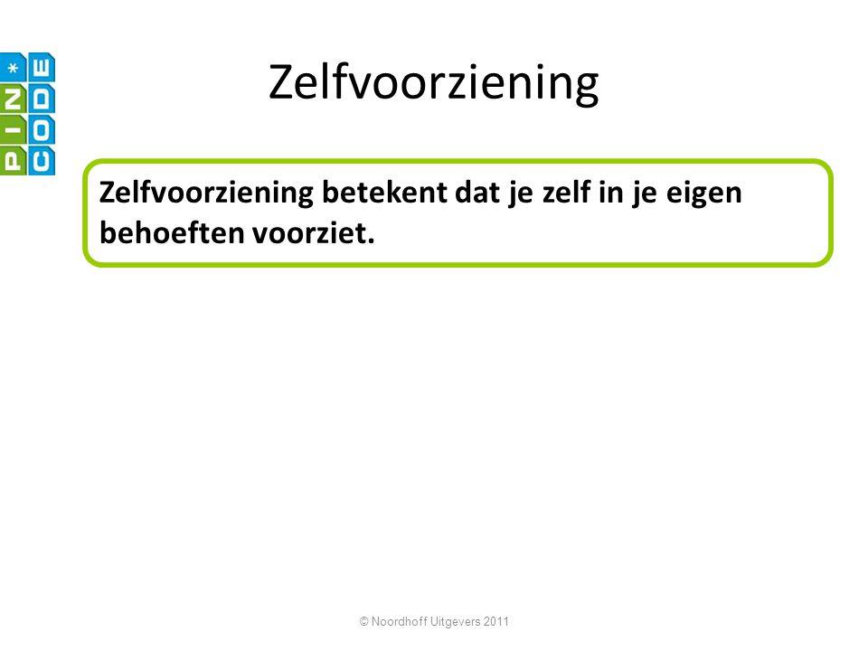 © Noordhoff Uitgevers 2011 Zelfvoorziening Zelfvoorziening betekent dat je zelf in je eigen behoeften voorziet.