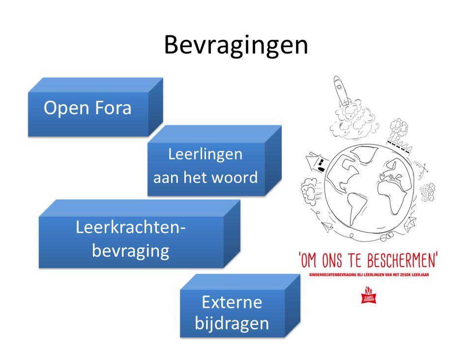Bevragingen Leerkrachten- bevraging Leerkrachten- bevraging Open Fora Leerlingen aan het woord Leerlingen aan het woord Externe bijdragen