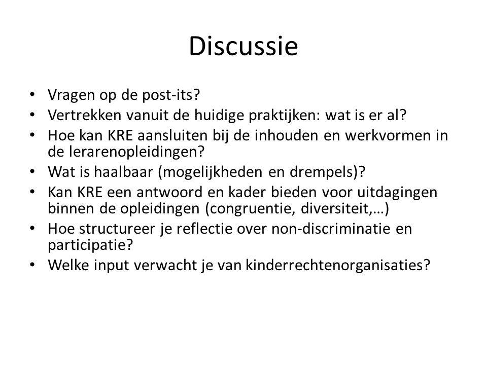 Discussie Vragen op de post-its.Vertrekken vanuit de huidige praktijken: wat is er al.