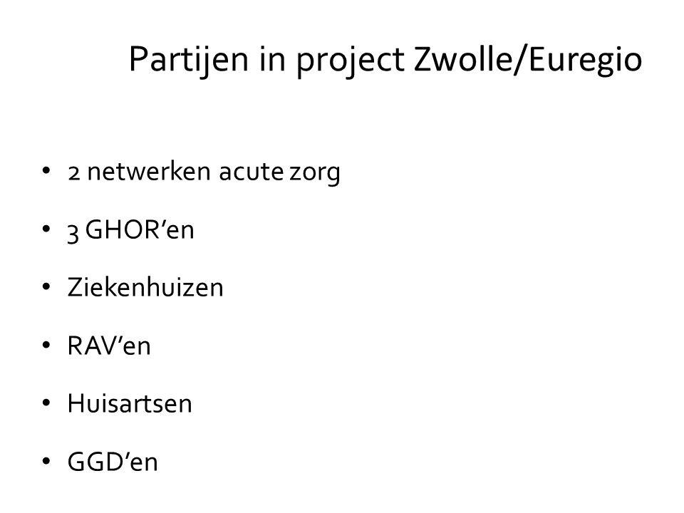 2 netwerken acute zorg 3 GHOR'en Ziekenhuizen RAV'en Huisartsen GGD'en Partijen in project Zwolle/Euregio