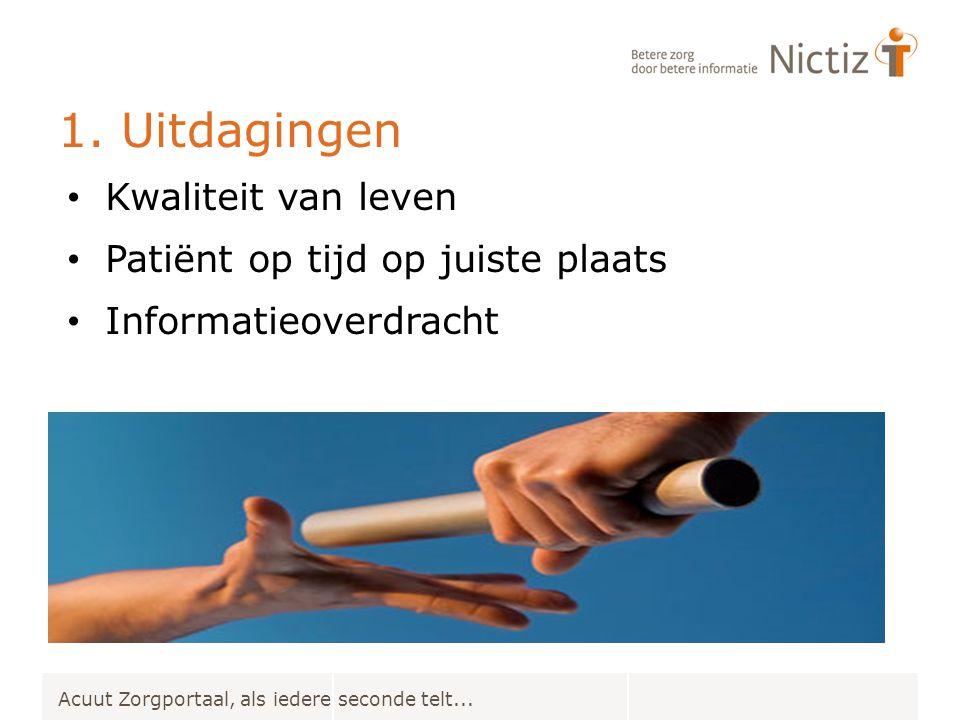 1. Uitdagingen Acuut Zorgportaal, als iedere seconde telt... Kwaliteit van leven Patiënt op tijd op juiste plaats Informatieoverdracht