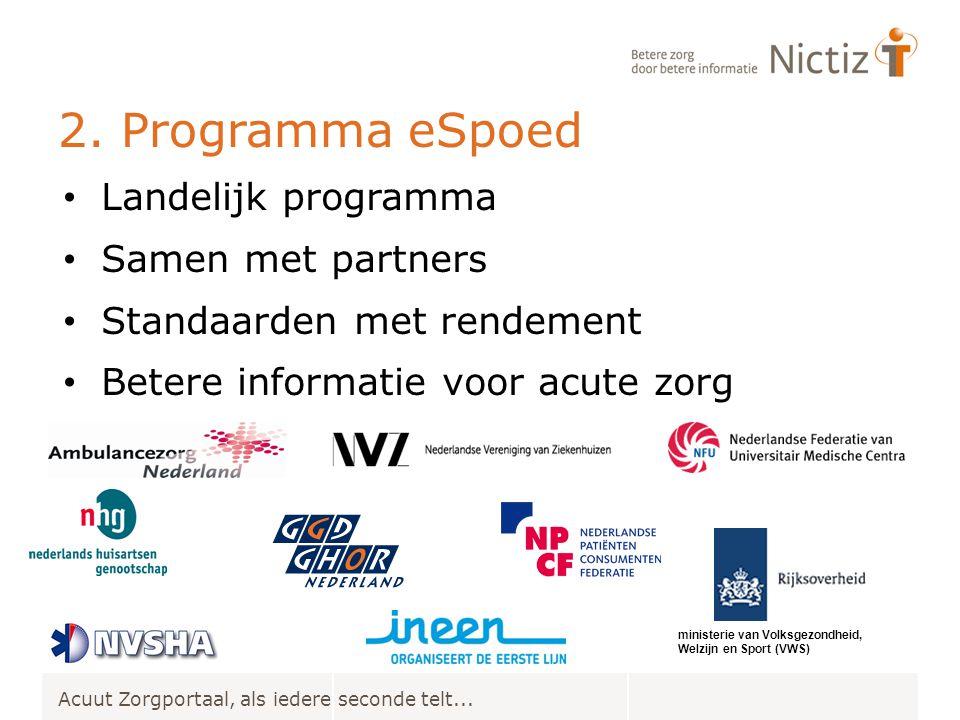 2. Programma eSpoed Landelijk programma Samen met partners Standaarden met rendement Betere informatie voor acute zorg Acuut Zorgportaal, als iedere s