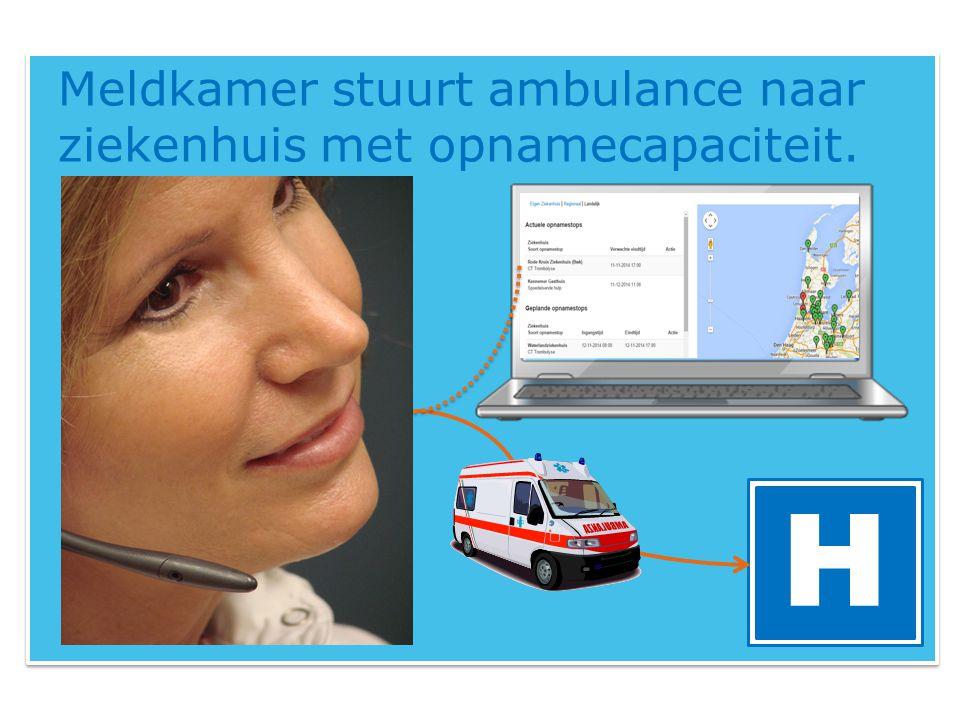 Meldkamer stuurt ambulance naar ziekenhuis met opnamecapaciteit. H