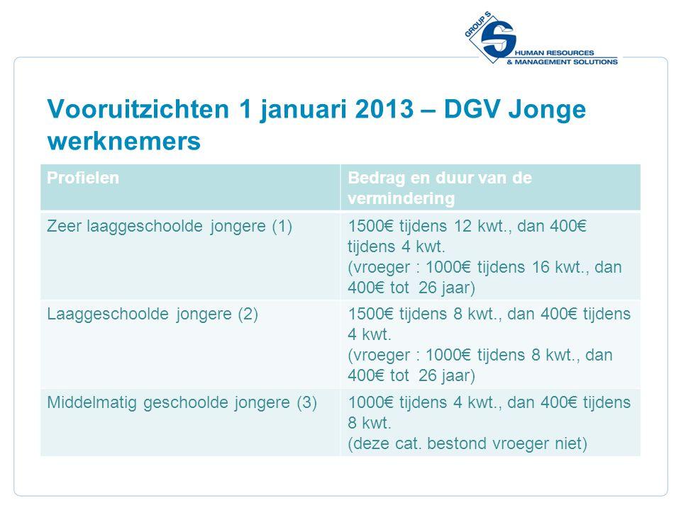 13 Vooruitzichten 1 januari 2013 – DGV Jonge werknemers ProfielenBedrag en duur van de vermindering Zeer laaggeschoolde jongere (1)1500€ tijdens 12 kw