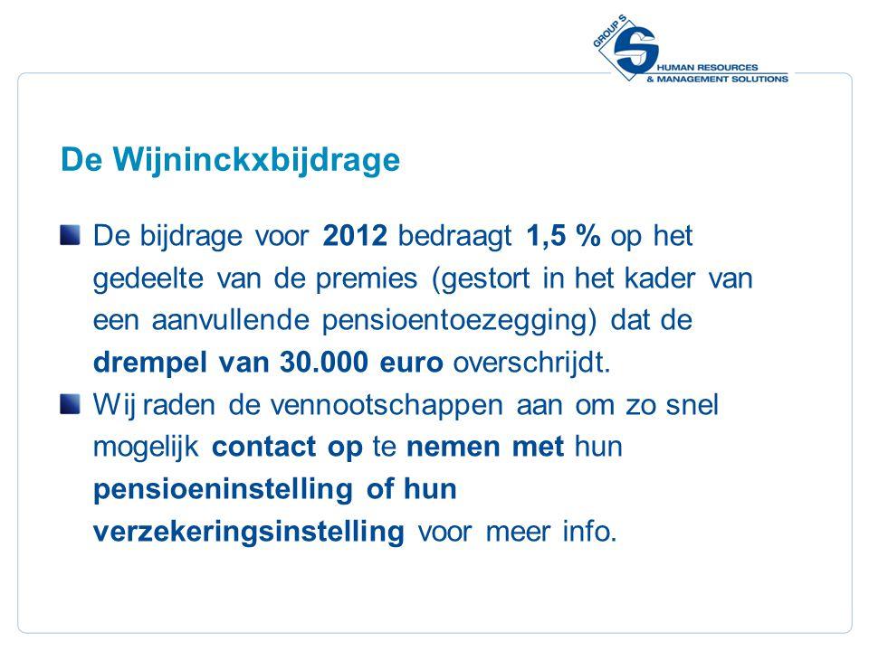 17 De Wijninckxbijdrage De bijdrage voor 2012 bedraagt 1,5 % op het gedeelte van de premies (gestort in het kader van een aanvullende pensioentoezegging) dat de drempel van 30.000 euro overschrijdt.