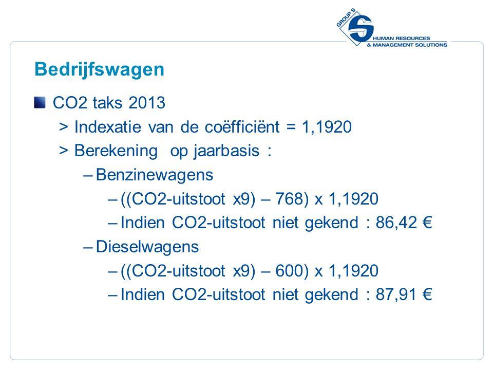 23 Bedrijfswagen CO2 taks 2013  Indexatie van de coëfficiënt = 1,1920  Berekening op jaarbasis : –Benzinewagens –((CO2-uitstoot x9) – 768) x 1,1920 –Indien CO2-uitstoot niet gekend : 86,42 € –Dieselwagens –((CO2-uitstoot x9) – 600) x 1,1920 –Indien CO2-uitstoot niet gekend : 87,91 €
