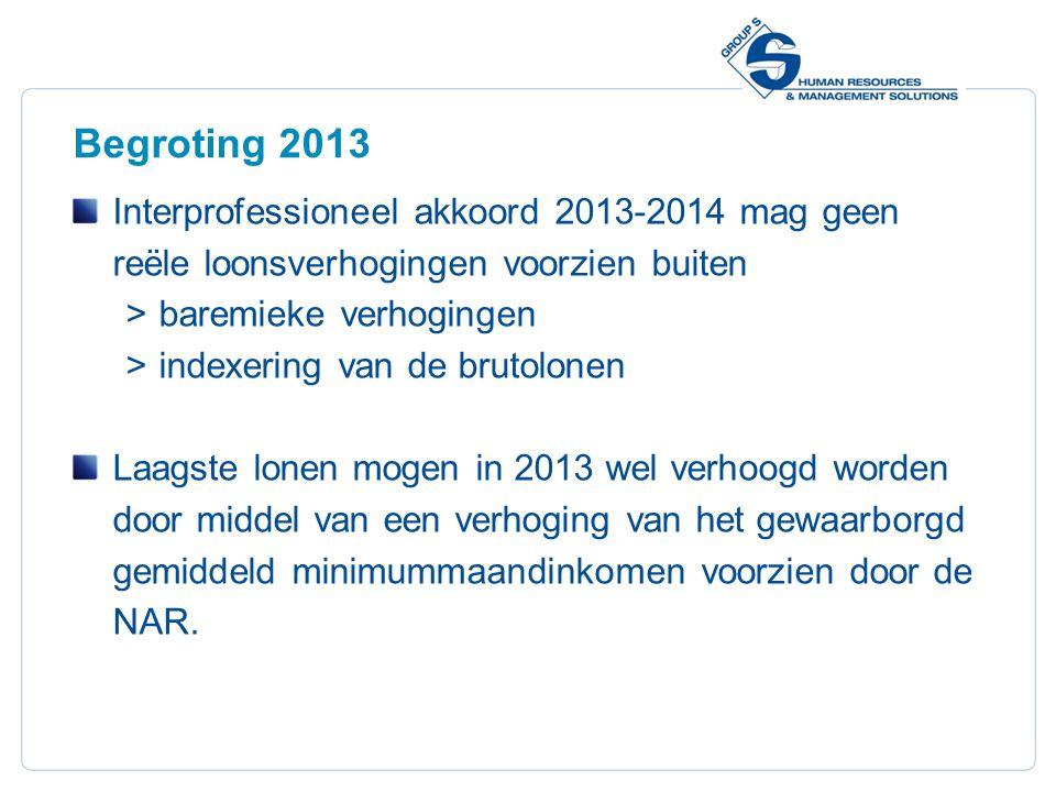 4 Begroting 2013 Interprofessioneel akkoord 2013-2014 mag geen reële loonsverhogingen voorzien buiten  baremieke verhogingen  indexering van de brut