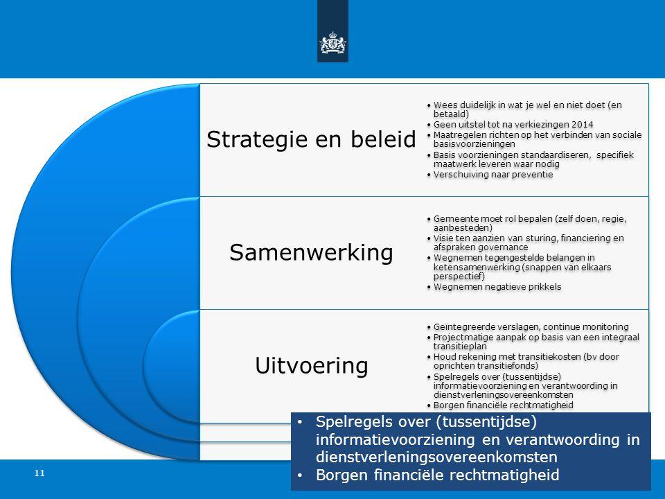11 Strategie en beleid Samenwerking Uitvoering Wees duidelijk in wat je wel en niet doet (en betaald) Geen uitstel tot na verkiezingen 2014 Maatregele
