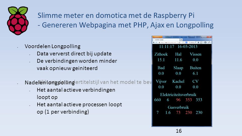 Klik om de ondertitelstijl van het model te bewerken Slimme meter en domotica met de Raspberry Pi - Genereren Webpagina met PHP, Ajax en Longpolling 1