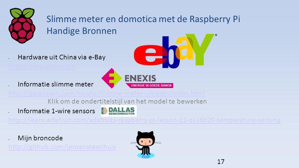 Klik om de ondertitelstijl van het model te bewerken - Hardware uit China via e-Bay http://www.ebay.com - Informatie slimme meter http://gejanssen.com