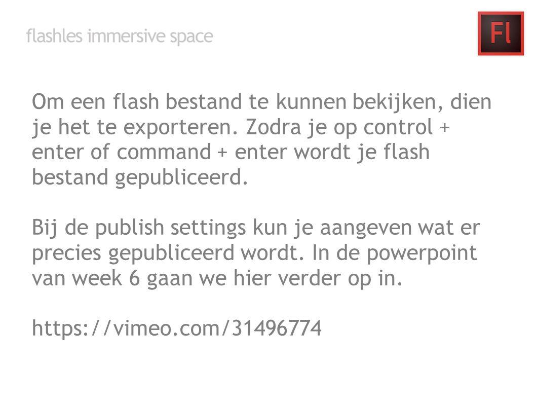Om een flash bestand te kunnen bekijken, dien je het te exporteren. Zodra je op control + enter of command + enter wordt je flash bestand gepubliceerd