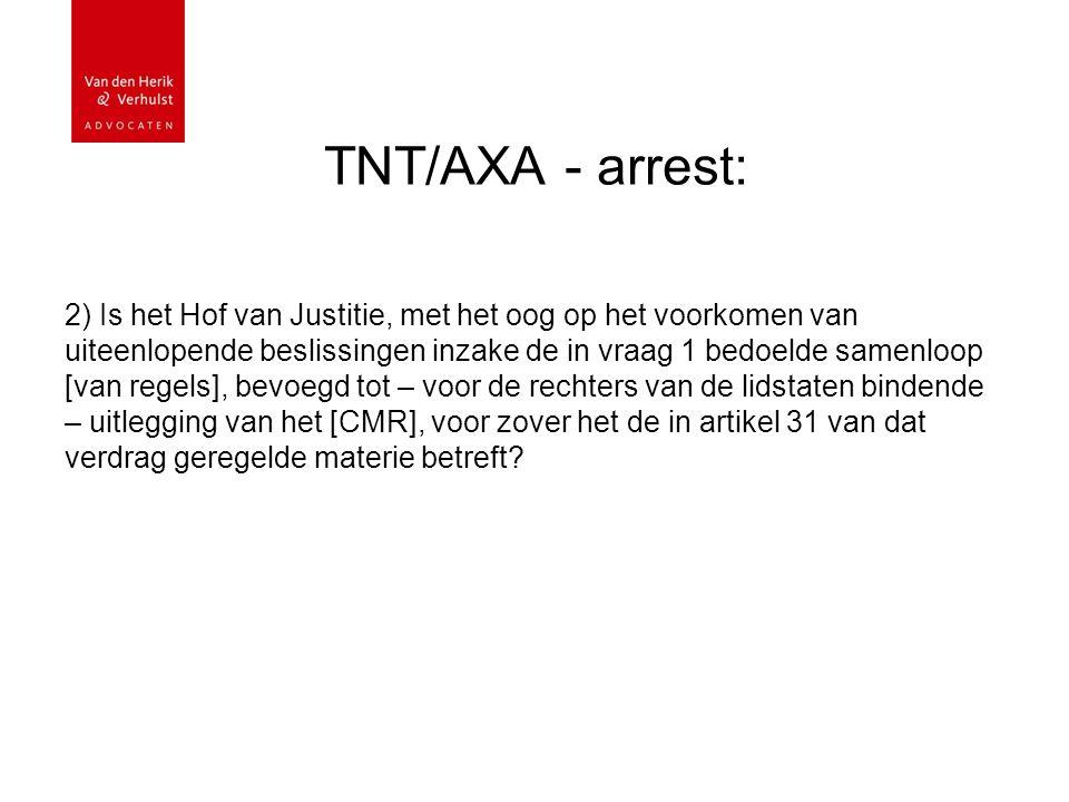 TNT/AXA - arrest: 2) Is het Hof van Justitie, met het oog op het voorkomen van uiteenlopende beslissingen inzake de in vraag 1 bedoelde samenloop [van regels], bevoegd tot – voor de rechters van de lidstaten bindende – uitlegging van het [CMR], voor zover het de in artikel 31 van dat verdrag geregelde materie betreft