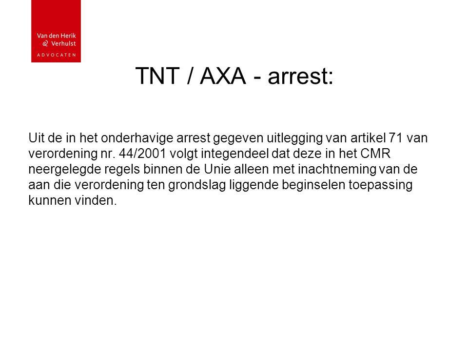 TNT / AXA - arrest: Uit de in het onderhavige arrest gegeven uitlegging van artikel 71 van verordening nr.