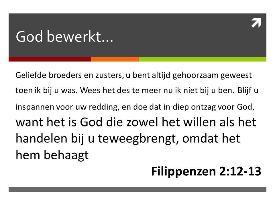  God bewerkt… Geliefde broeders en zusters, u bent altijd gehoorzaam geweest toen ik bij u was.