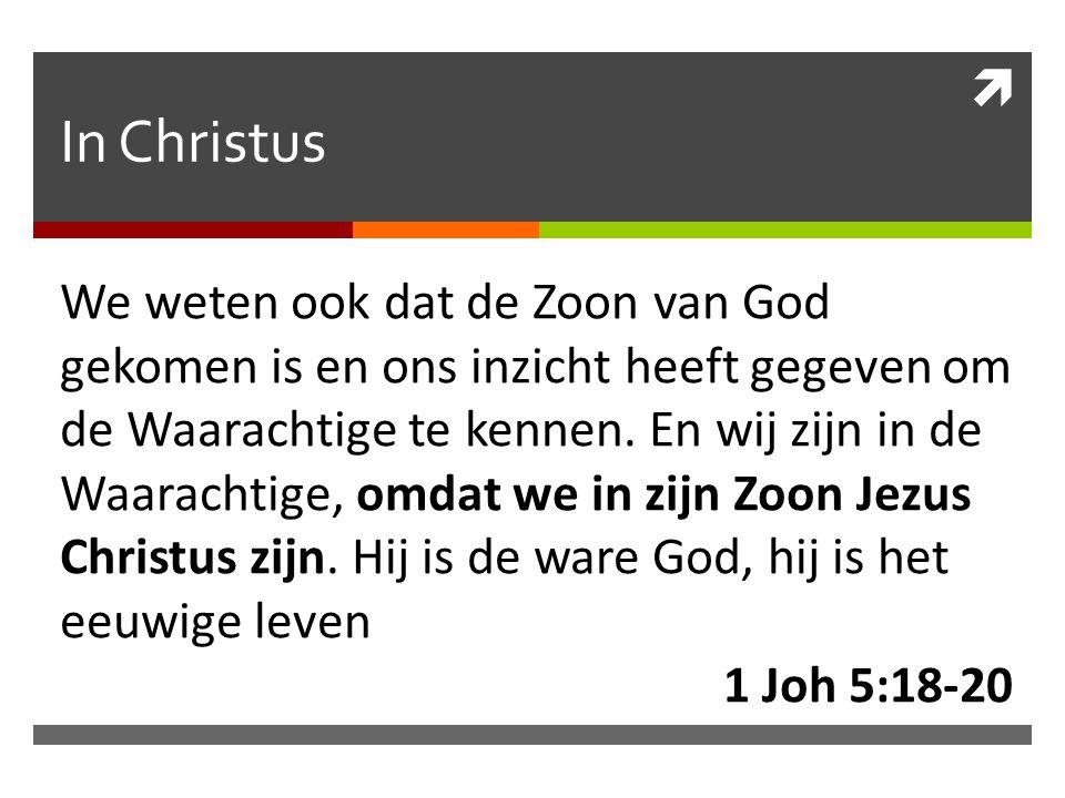  In Christus We weten ook dat de Zoon van God gekomen is en ons inzicht heeft gegeven om de Waarachtige te kennen.