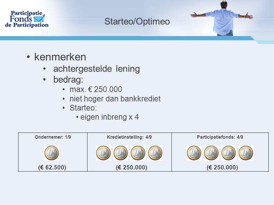 Ondernemer: 1/9Kredietinstelling: 4/9Participatiefonds: 4/9 (€ 62.500)(€ 250.000) Starteo/Optimeo kenmerken achtergestelde lening bedrag: max.
