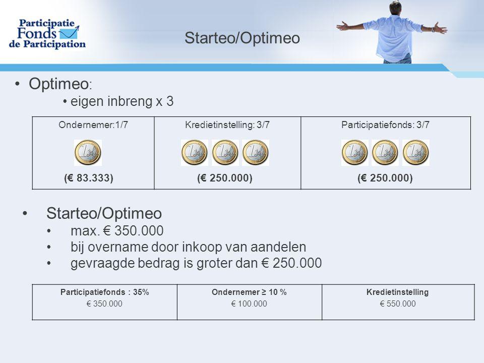 Starteo/Optimeo Optimeo : eigen inbreng x 3 Ondernemer:1/7Kredietinstelling: 3/7Participatiefonds: 3/7 (€ 83.333)(€ 250.000) Starteo/Optimeo max.