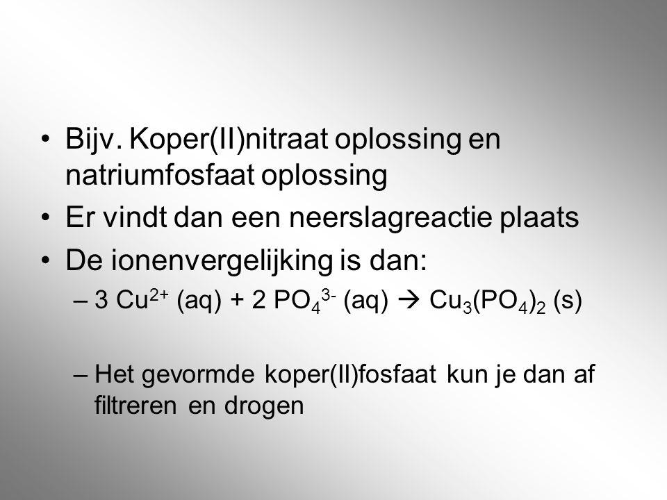 Bijv. Koper(II)nitraat oplossing en natriumfosfaat oplossing Er vindt dan een neerslagreactie plaats De ionenvergelijking is dan: –3 Cu 2+ (aq) + 2 PO