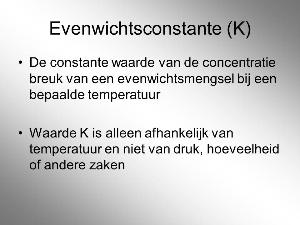 Evenwichtsconstante (K) De constante waarde van de concentratie breuk van een evenwichtsmengsel bij een bepaalde temperatuur Waarde K is alleen afhank