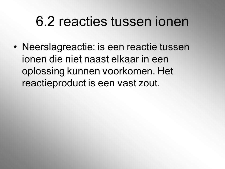 6.2 reacties tussen ionen Neerslagreactie: is een reactie tussen ionen die niet naast elkaar in een oplossing kunnen voorkomen. Het reactieproduct is