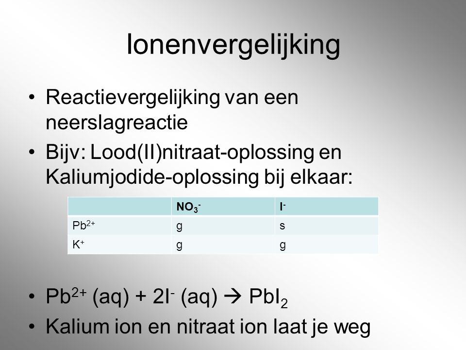Ionenvergelijking Reactievergelijking van een neerslagreactie Bijv: Lood(II)nitraat-oplossing en Kaliumjodide-oplossing bij elkaar: Pb 2+ (aq) + 2I -