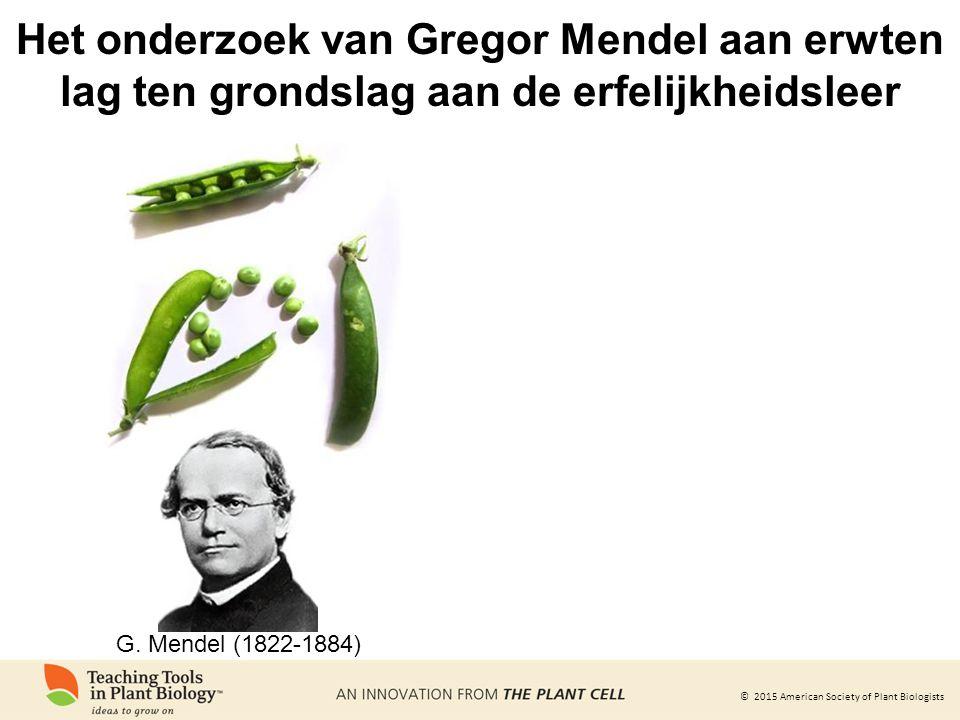 © 2015 American Society of Plant Biologists Het onderzoek van Gregor Mendel aan erwten lag ten grondslag aan de erfelijkheidsleer G.