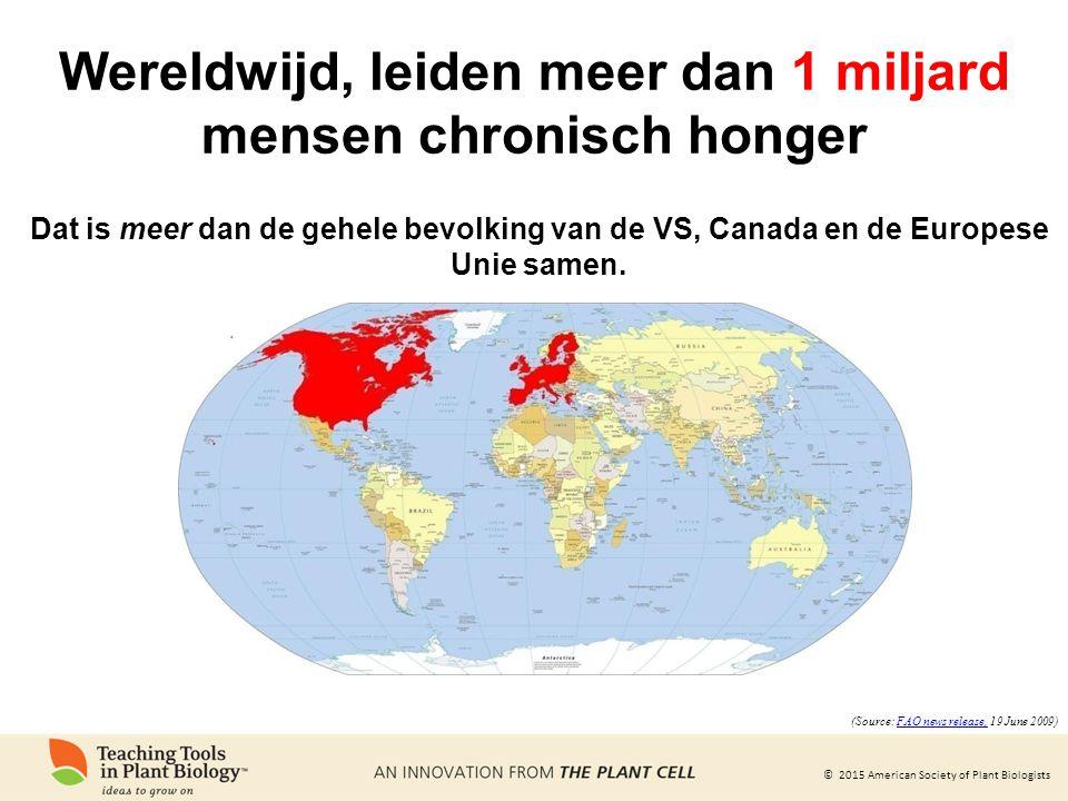 © 2015 American Society of Plant Biologists Wereldwijd, leiden meer dan 1 miljard mensen chronisch honger Dat is meer dan de gehele bevolking van de VS, Canada en de Europese Unie samen.