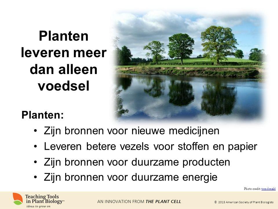 © 2015 American Society of Plant Biologists Planten leveren meer dan alleen voedsel Planten: Zijn bronnen voor nieuwe medicijnen Leveren betere vezels