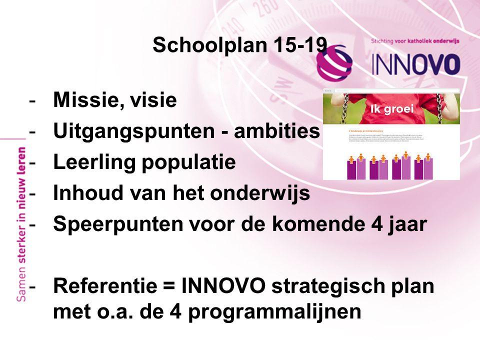 Schoolplan 15-19 -Missie, visie -Uitgangspunten - ambities -Leerling populatie -Inhoud van het onderwijs -Speerpunten voor de komende 4 jaar -Referent