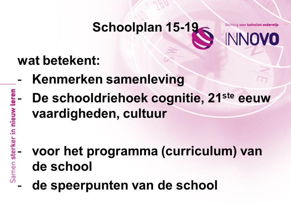 Schoolplan 15-19 wat betekent: -Kenmerken samenleving -De schooldriehoek cognitie, 21 ste eeuw vaardigheden, cultuur -voor het programma (curriculum)