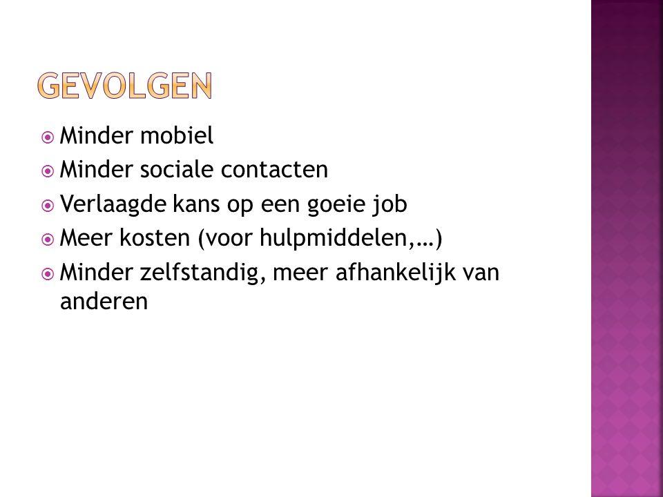  Minder mobiel  Minder sociale contacten  Verlaagde kans op een goeie job  Meer kosten (voor hulpmiddelen,…)  Minder zelfstandig, meer afhankelij