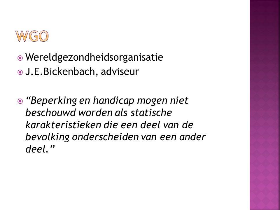 """ Wereldgezondheidsorganisatie  J.E.Bickenbach, adviseur  """"Beperking en handicap mogen niet beschouwd worden als statische karakteristieken die een"""