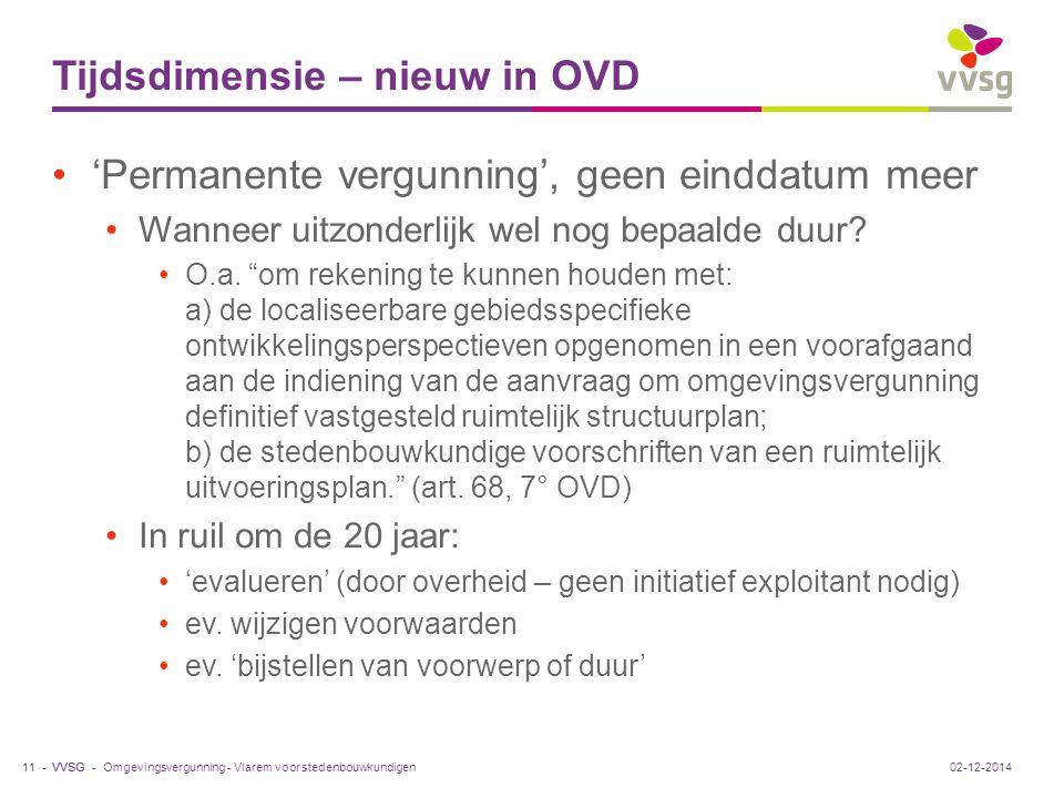 VVSG - Tijdsdimensie – nieuw in OVD 'Permanente vergunning', geen einddatum meer Wanneer uitzonderlijk wel nog bepaalde duur.