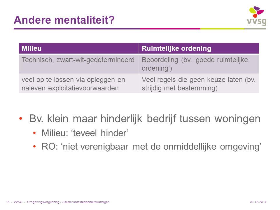 VVSG - Andere mentaliteit. Bv.