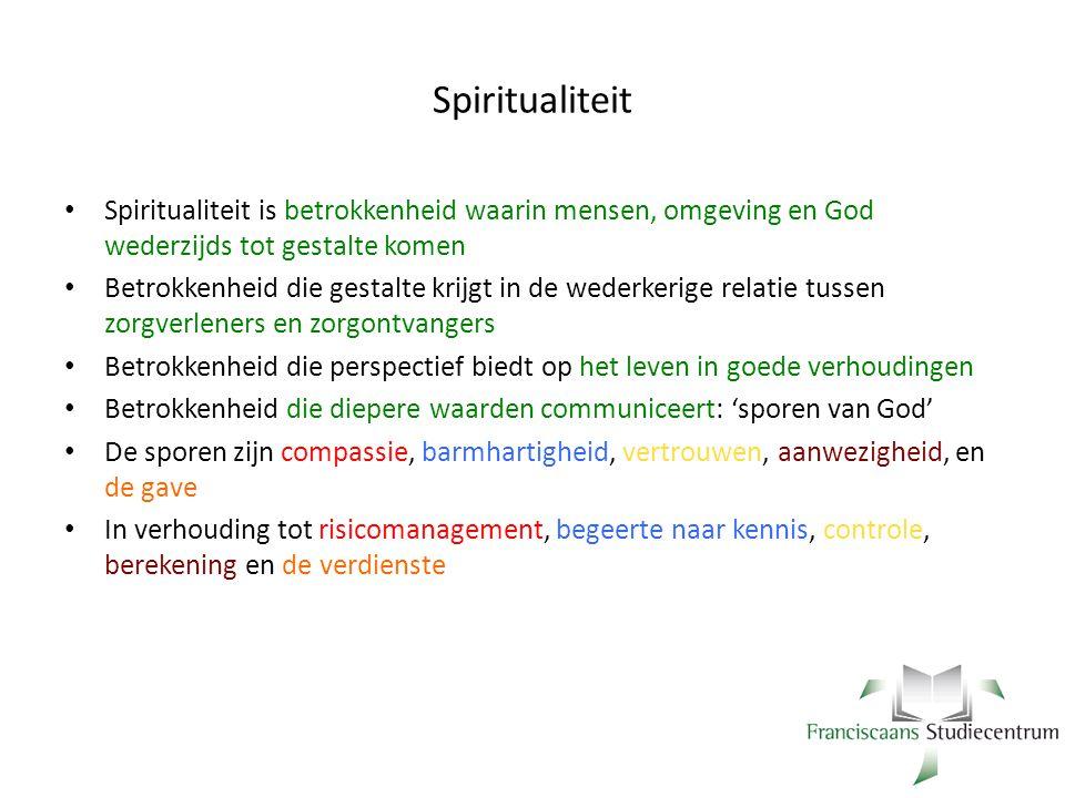 Spiritualiteit Spiritualiteit is betrokkenheid waarin mensen, omgeving en God wederzijds tot gestalte komen Betrokkenheid die gestalte krijgt in de we