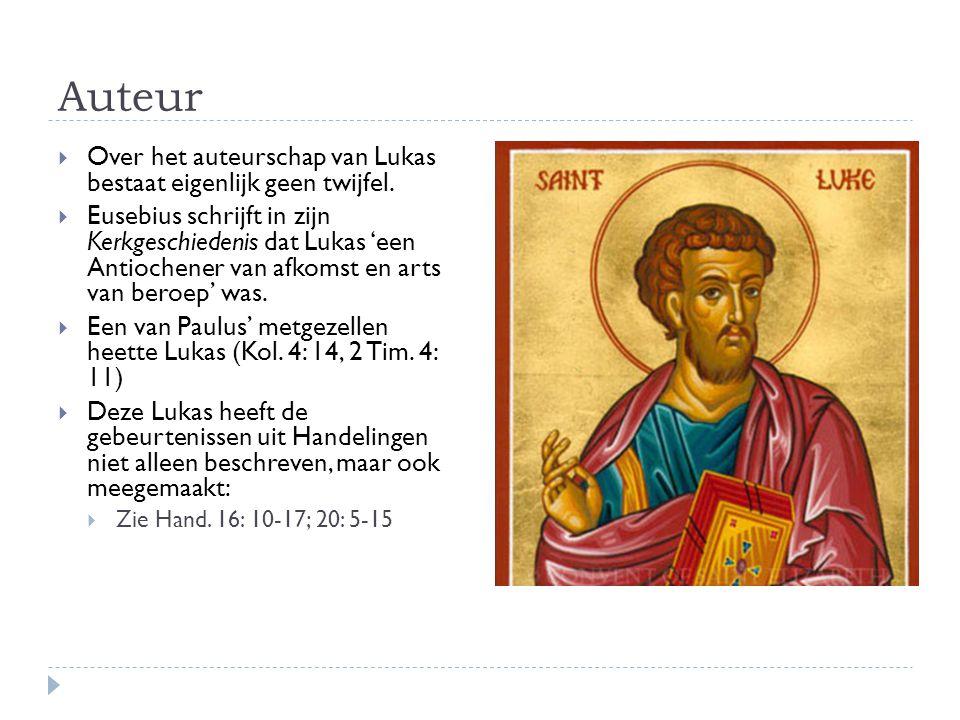 Auteur  Over het auteurschap van Lukas bestaat eigenlijk geen twijfel.  Eusebius schrijft in zijn Kerkgeschiedenis dat Lukas 'een Antiochener van af